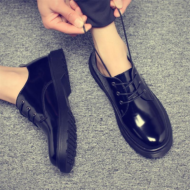 夏季韩版漆皮英伦欧美厚底马丁鞋亮皮短靴潮流男士休闲皮鞋大头鞋