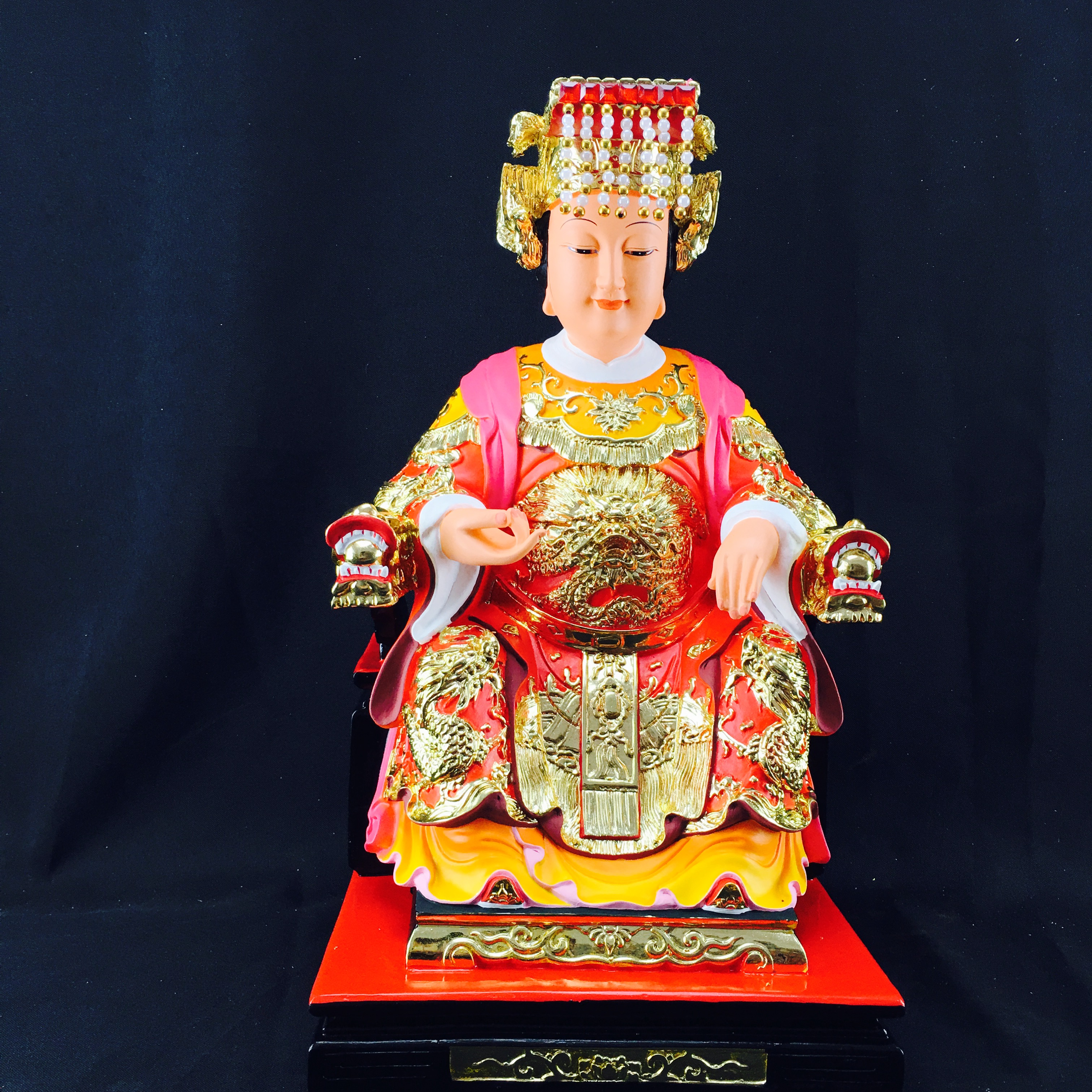 12寸七彩樹脂媽祖神像擺件道教神堂供奉風水求平安工藝品家居裝飾