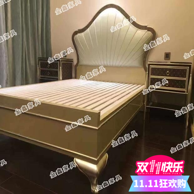 American high-end custom luxury double bed solid wood leather new classical Jane champagne soft marriage bed hot