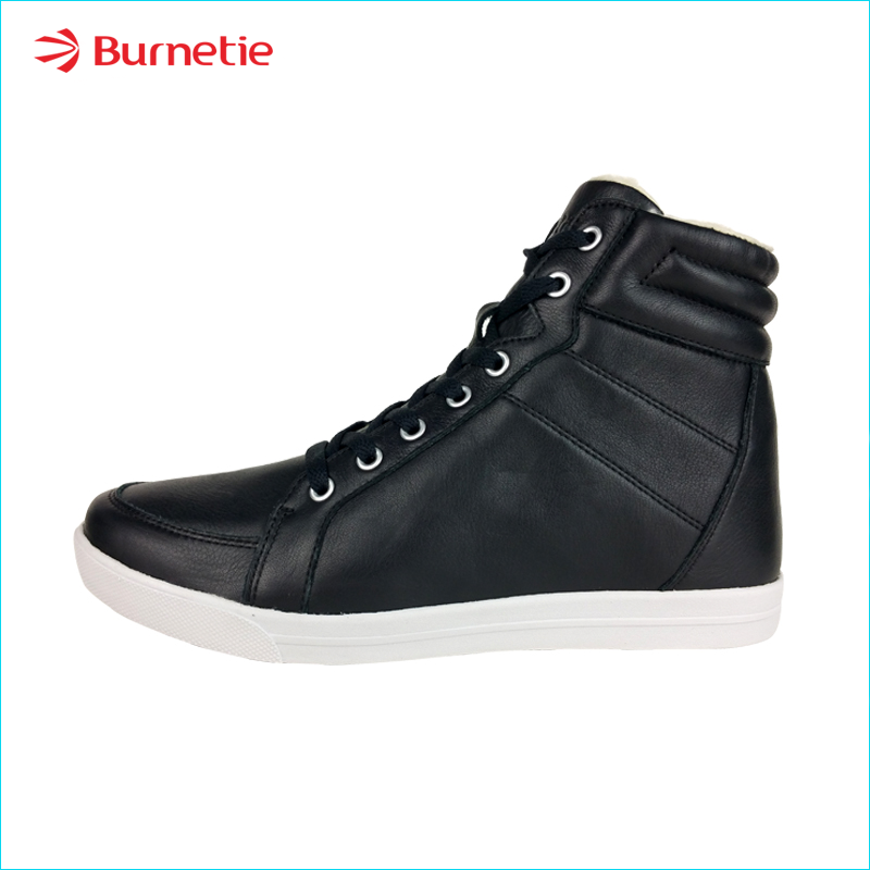 Burnetie burn etie 2017 new shoes black velvet shoes lace high warm men casual shoes