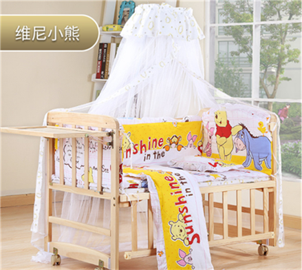 Baby bed, solid paint, baby bed, cradle bed, multifunctional environmental protection, children's newborn bed, breathable children
