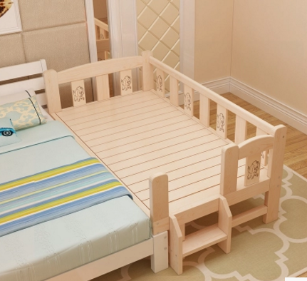 Mail bed, widened bed, solid wood single person bed, bedside bed, pine bed bed, lengthened bed bed, child bed splicing bed