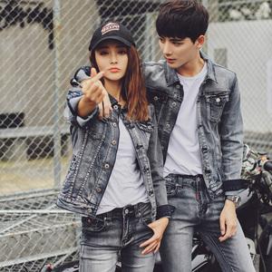 2018春秋季新款牛仔外套男女韩版情侣学生修身短款帅气宽松一套装