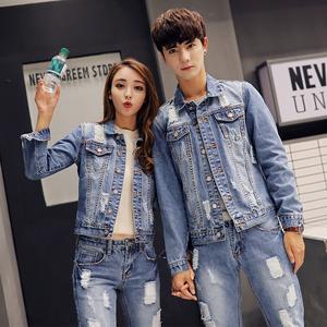 春季浅蓝牛仔套装男士休闲破洞两件套韩版潮流宽松青年帅气情侣装