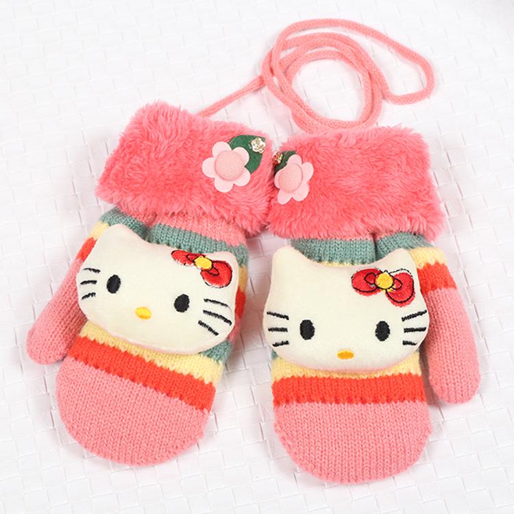 4-9岁儿童手套保暖冬季男童女童卡通条纹可爱加绒宝宝小孩学生潮