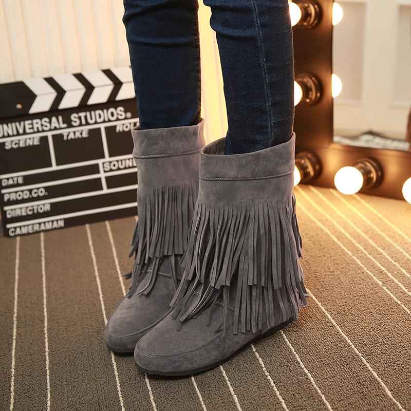 冬季女鞋大码磨砂圆头中跟内增高短靴女靴平底中筒流苏靴加绒棉鞋