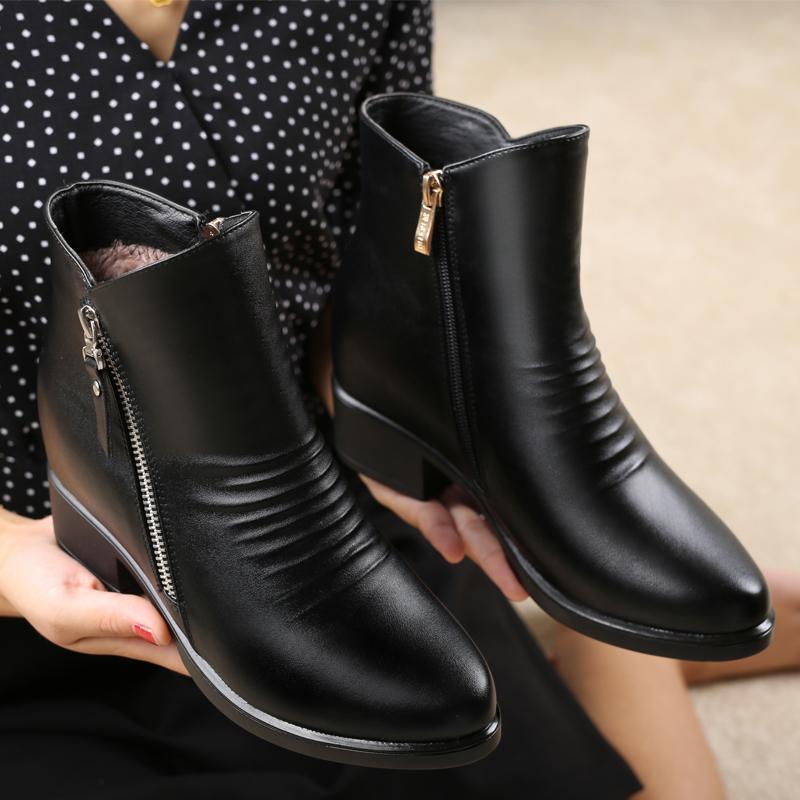 妈妈鞋短靴真皮冬季加绒中老年女士棉鞋秋冬鞋子大码中年女靴粗跟