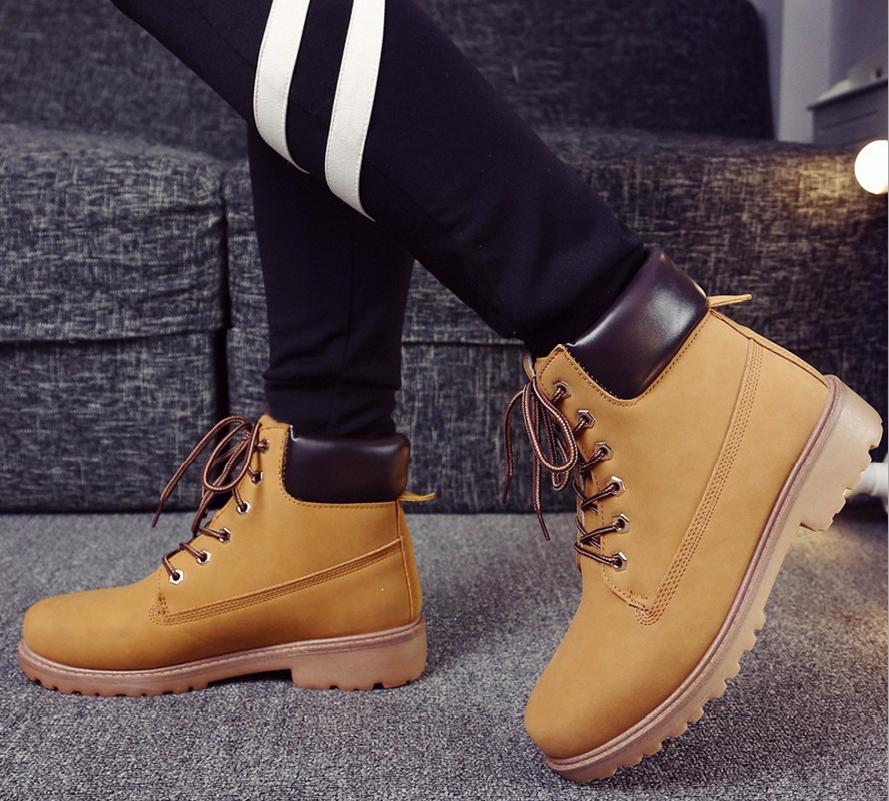 秋冬男女高帮工装靴防水军靴防滑欧美范中帮大头皮鞋大黄靴子短靴