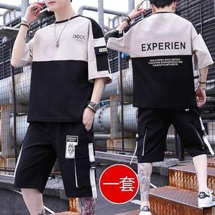 男生休闲套装青少年学生潮流韩版运动工装短袖短裤社会男衣服一套