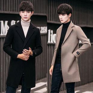 男士风衣秋冬季韩版中长款大衣修身外套