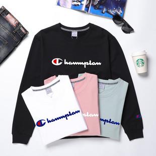 Channplan新款男女同款情侣装刺绣长袖T恤圆领卫衣简约时尚百搭