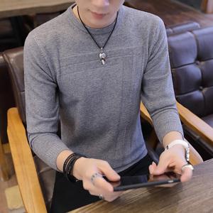 秋季男秋衣套头长袖毛衣衫韩版休闲上衣青年潮流帅气男装针织卫衣
