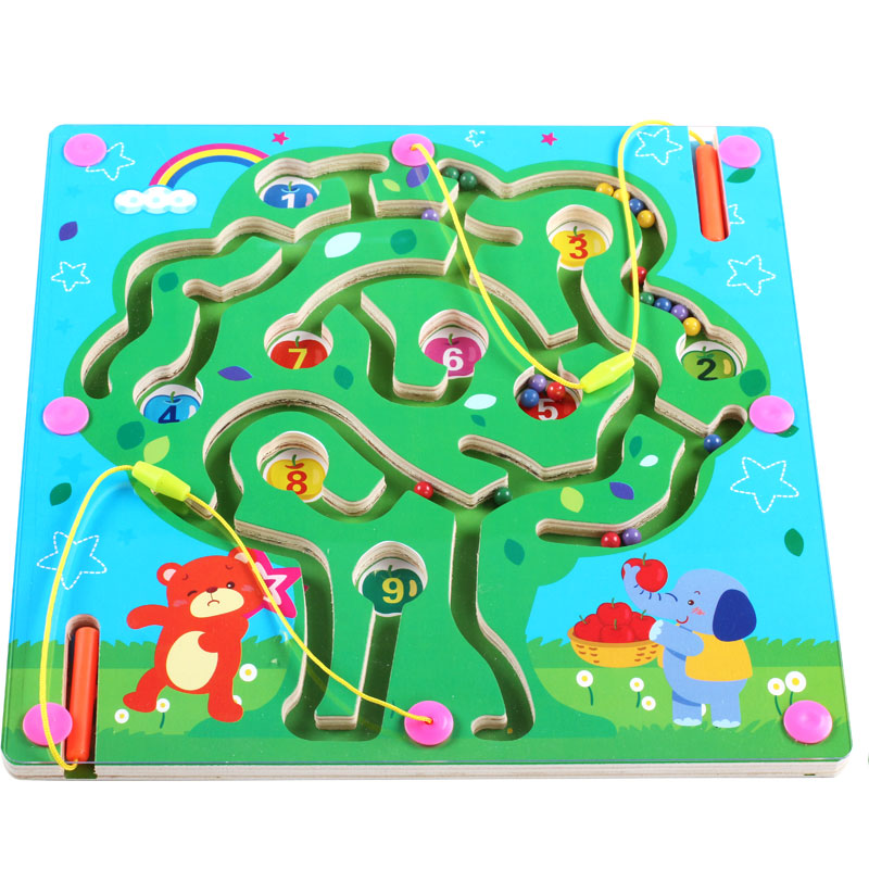 Children's maze magnetic pen ball magnet baby puzzle boys and girls aged 2-3-4-5 magnetic intelligence toy