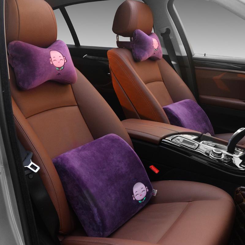 創意小僧記憶綿自動車ヘッドレスト護頚枕車用のクッションアニメ車車載骨枕枕