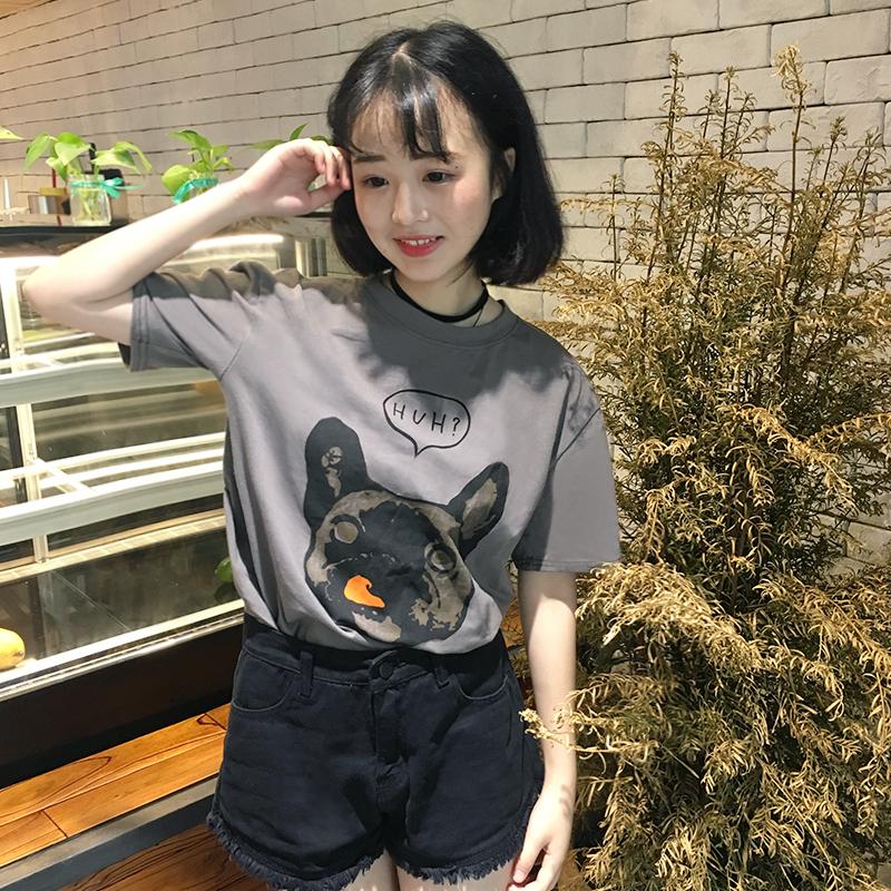 实拍2017韩版学院风卡通印花学生BF拼色宽松百搭打底短袖T恤3303#