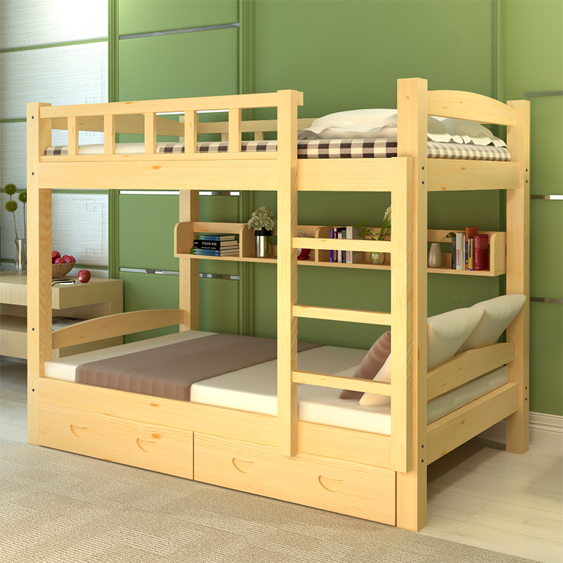 All pine high and low bed adult staff dormitory, double bunk bed, upper and lower berth, students' solid wood two layer shelf bed