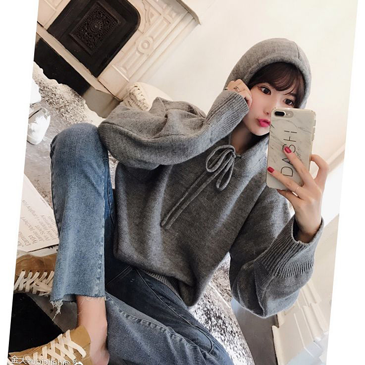 BIGKING Bf Daikin female hooded sweater sweater wind loose before long and short head of Korean Students