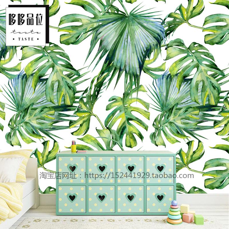 藝術油畫布(拼接)/平方北歐風熱帶植物綠色背景墻紙現代簡約壁畫客廳沙發電視墻壁紙墻布