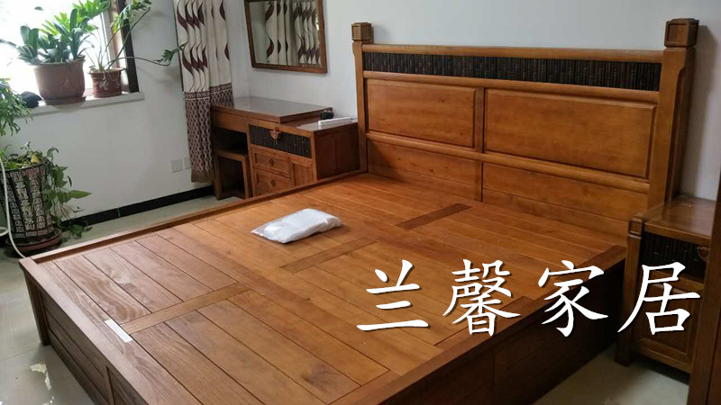 Club furniture, a series of Fraxinus mandshurica, all solid wood, modern Chinese W-CH28A double beds