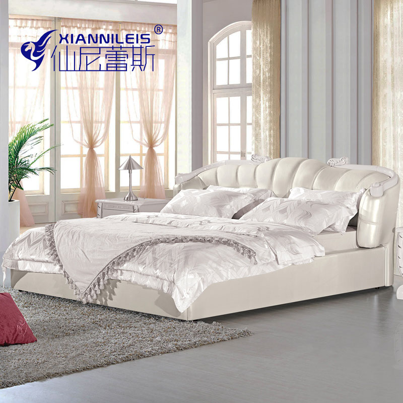 European leather bed 1.8 meters wood double size bed apartment layout leather wedding bed bed Princess Jane leather bed