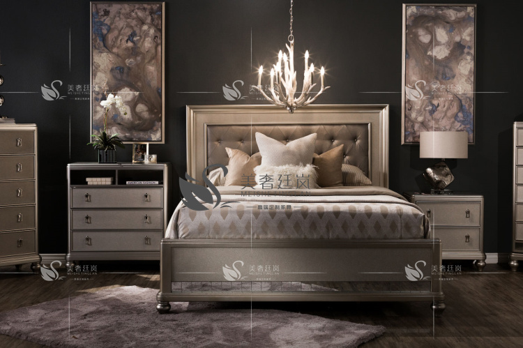 LAN Ting beauty luxury high-end custom leather upholstered bed American solid wood new classical double postmodern Jane bed