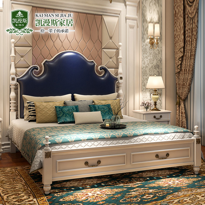 Double bed bed bed Zhuwo American European minimalist modern princess bed 1.8 meters Jane bed furniture set