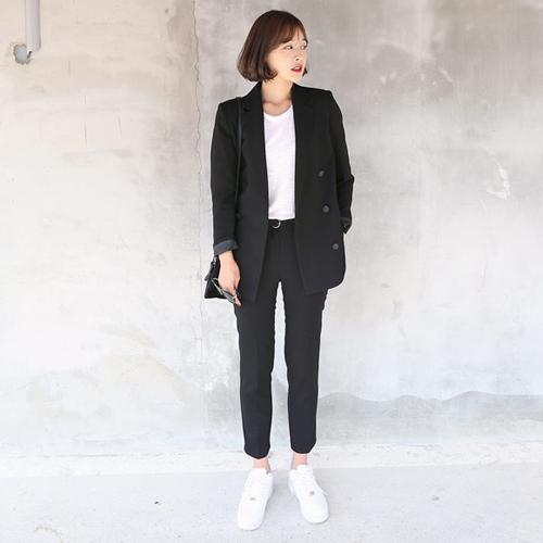 2017秋韓國韓版OL修身直筒寬松大碼小西服西裝外套職業正裝女裝