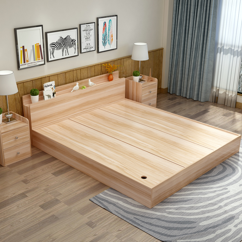 Modern minimalist folding bed board bed 1.8 meters 1.2 meters 1.5 meters high double storage box containing tatami bed