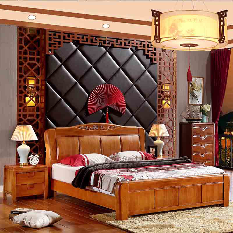 Solid wood bed 1.8 meters, modern simple Chinese double bed, household storage, high box bed, 1.5 meter oak bed