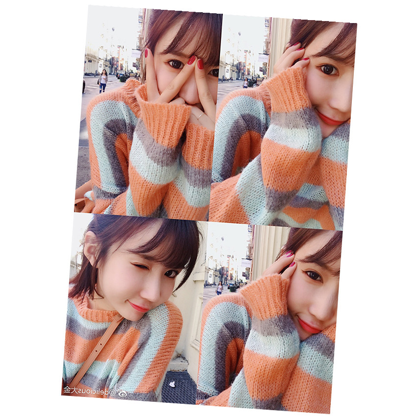 BIGKING Daikin home orange sweetheart cashmere mixed sense Rainbow Striped pullover ulzzang korean version of female