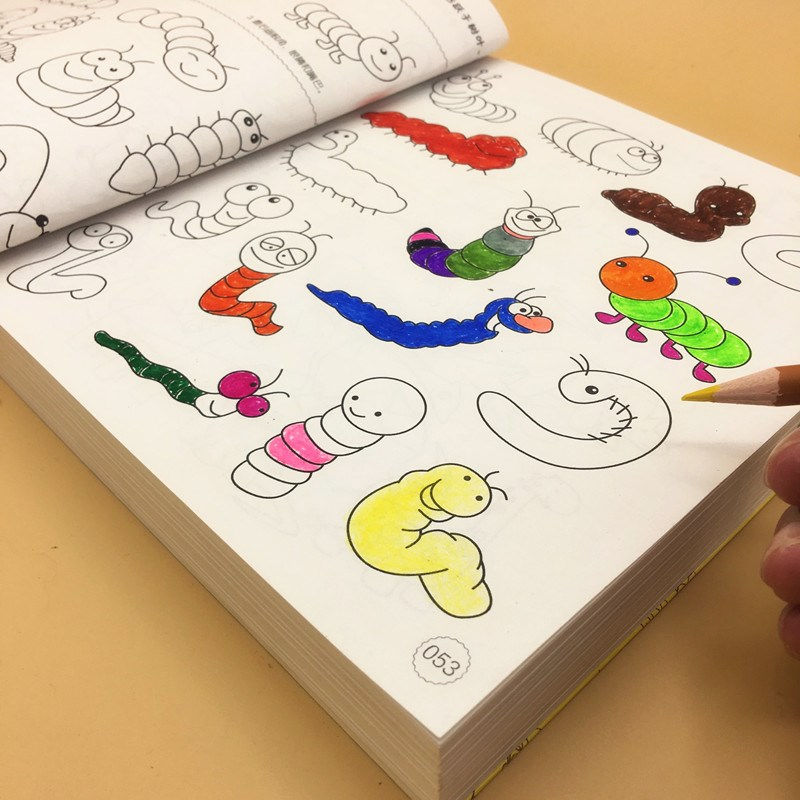 女孩成人画面清新时尚宝宝图书涂色本少女描红男童亲子简单简单小