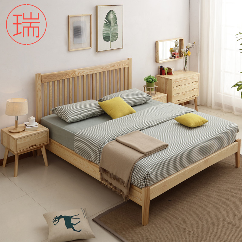 Nordic bed, all solid wood bed, Japanese bed, marriage bed, double bed, storage bed, air pressure box, ash bed 1.8 meters