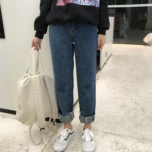 韓國ulzzang原宿風bf秋鼕韓版潮寬松牛仔褲高腰卷邊九分直筒褲女