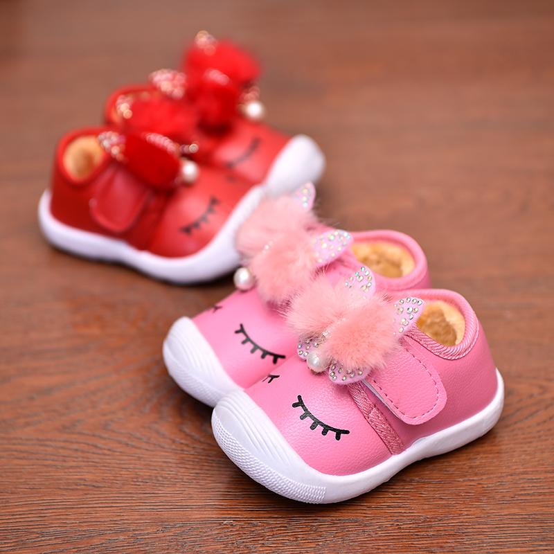 婴儿学步鞋宝宝叫叫鞋0-1-2岁3男童童鞋软底女加绒大棉鞋子秋冬皮