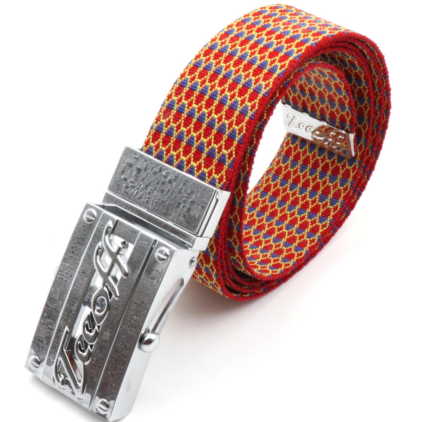 TEEOFF編みベルト民族風にコードベルト赤い女男ベルトステンレスベルトバックル。