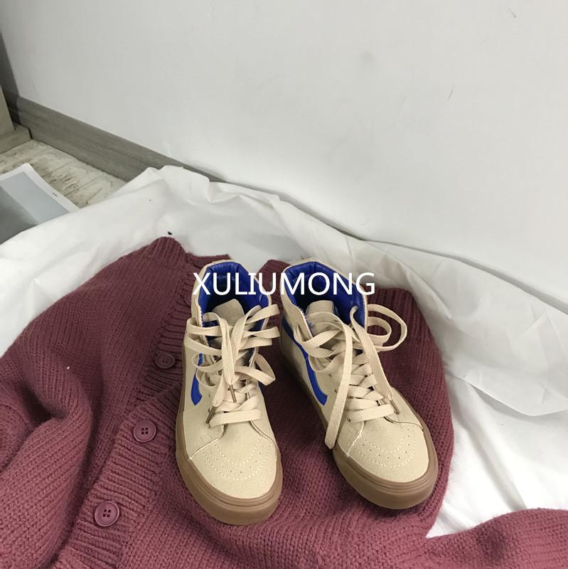 許劉芒 秋鼕韓國街拍米色高幫百搭帆布鞋女學生情侶港風滑板男鞋
