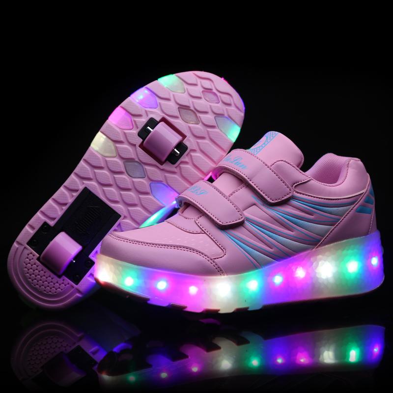 Giày chạy bộ đôi đôi với đèn chiếu sáng học sinh trung học học sinh nam và nữ cô gái bánh xe bánh xe thể thao trẻ em gái cô gái
