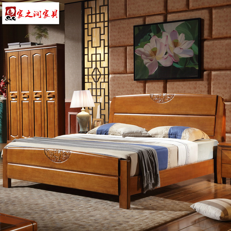 Modern Chinese style simple whole solid wood bed, 1.8 meter oak bed, 1.5m double bed storage, high box bedroom wedding bed