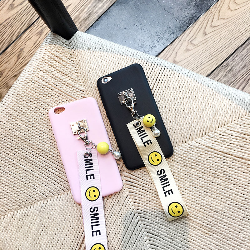 Cartoon smile wristbands Jin M3/M5 mobile phone shell F303 package F301 silicone soft shell female lanyard v188