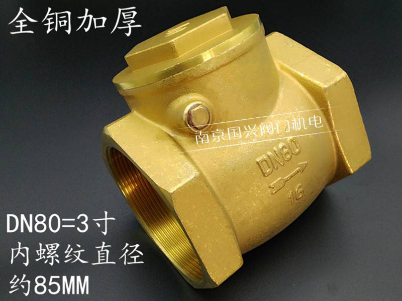 100 check valve, brass one-way valve, one way, 4 inches, 80 horizontal water stop