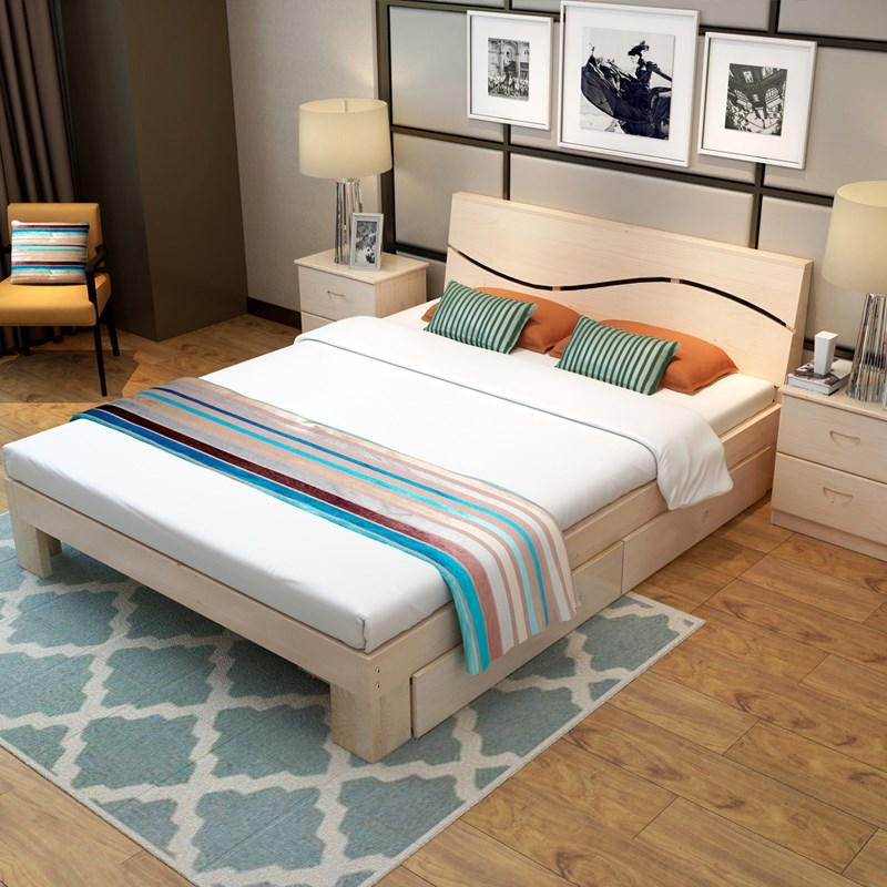 Solid wood double bed economy 1.8 master bedroom, modern simple single bed, adult Nordic small house 1.21.5 meters