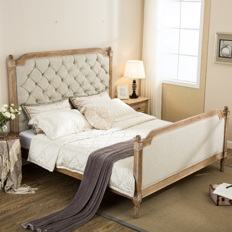 American European wood Jane French Retro Old carved oak soft bed linen single country