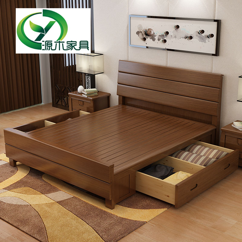 Modern simple solid wood bed master bedroom, 1.8 meters double bed, storage high box bed, 1.5M drawer bed, new Chinese wedding bed