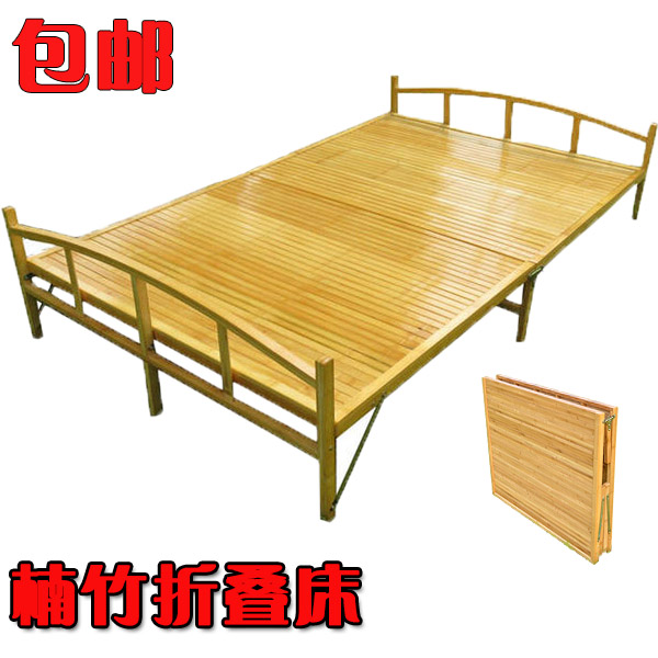 Folding bed, single bed, double bamboo bed, wooden bed, lunch bed, children's simple office bed, 1 meters 1.21.5 meters
