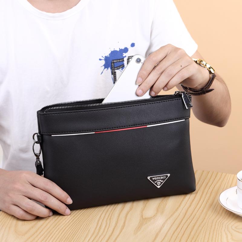 手包男士包包手提包手拿包潮流韩版时尚2017新款软皮休闲手抓包男