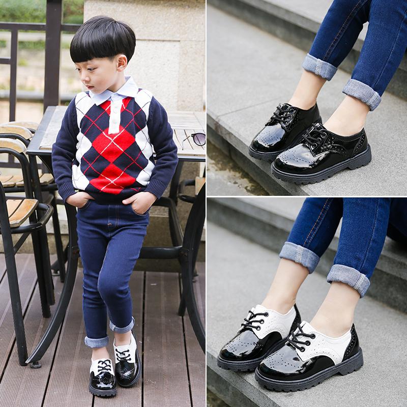2017春秋新款男童皮鞋中大儿童学生表演出鞋宝宝黑色英伦休闲单鞋