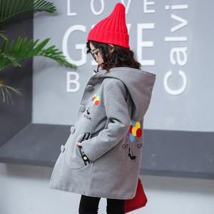 宅时尚女童毛呢外套秋冬新款韩版中大儿童中长款夹棉子大衣童装