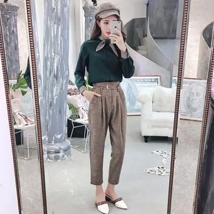 30两件套秋冬2018新款韩版气质休闲女装小香风时尚小脚哈伦裤套装