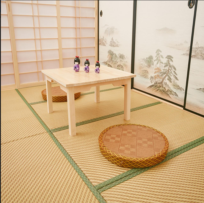Promotion and custom floor cushion rattan table tatami ruled coir mat core Japanese children crawling pad