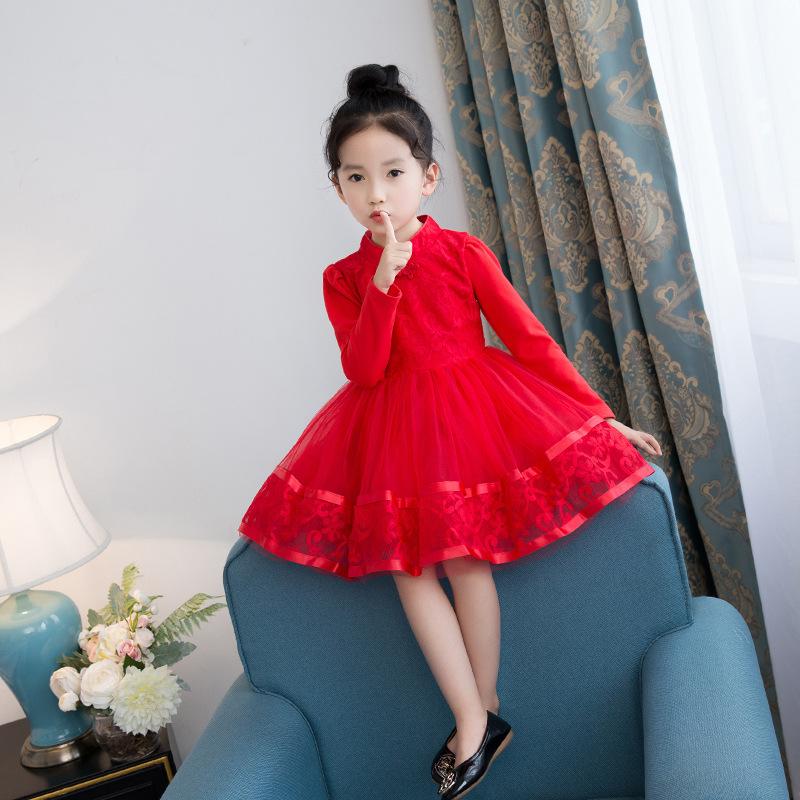女童礼服2冬季7童装旗袍公主裙子3儿童加绒4冬装5中国风6岁连衣裙